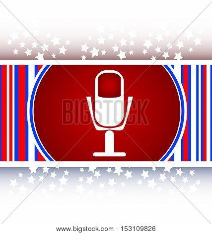 white microphone icon web button. web button