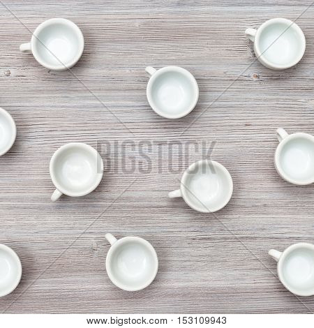 Above View Of Several Cups On Gray Brown Table