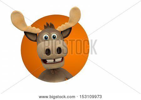Cute moose cartoon 3d illustration
