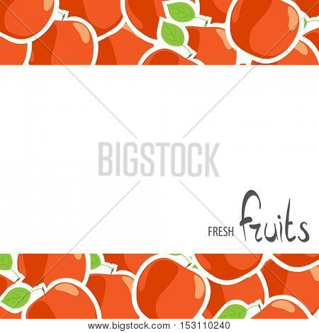 White background for inscriptions with red apples