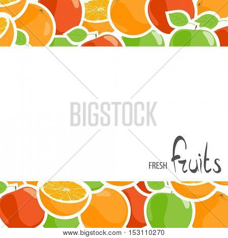 Tasty apples and oranges with place for an inscription on a white background