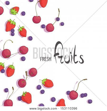 juicy summer berries on a white background