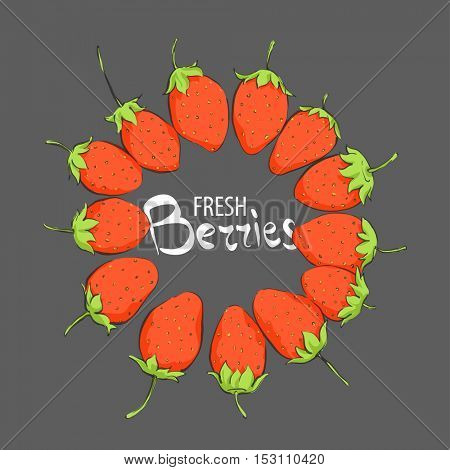 juicy strawberries on a black background