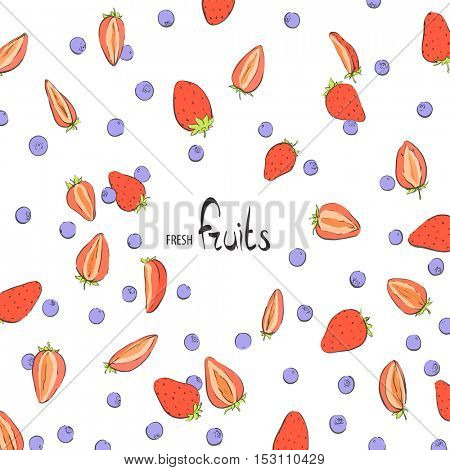 Delicious Strawberries and blueberries on a white background