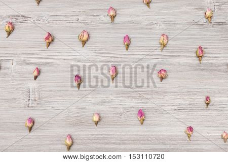 Pink Rose Flower Buds Close Up On Wooden Board