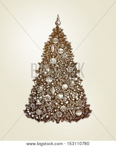 Vintage Christmas tree with xmas decorations. Hand drawn sketch vector
