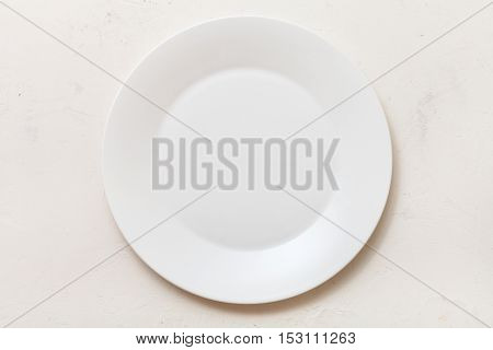 Top View Of White Plate On White Plastering Board