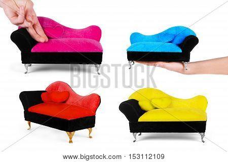 small yellow sofa over white background set