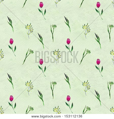 Seamless pattern with pink flowers. Floral watercolor background.