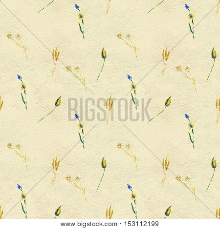 Seamless pattern with blue flowers and leaves. Floral watercolor background.