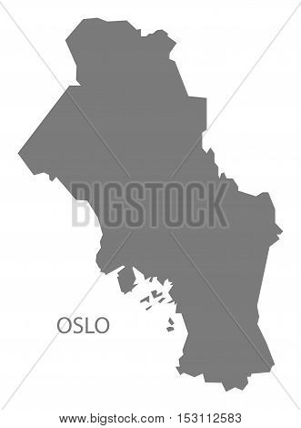 Oslo Norway Map grey illustration high res