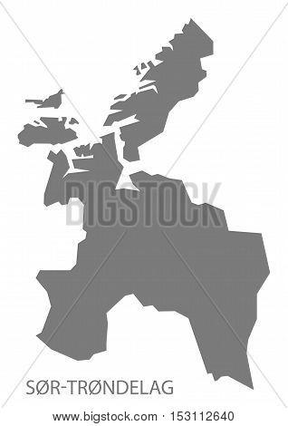 Sor Trondelag Norway Map grey illustration high res