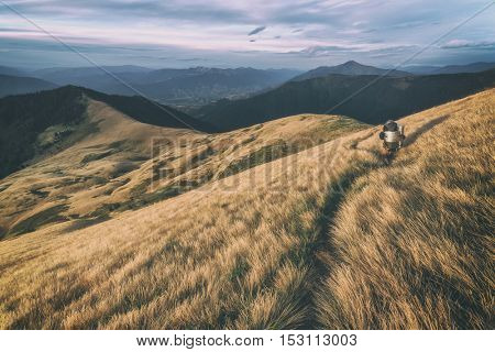 Beautiful Carpathian mountains in autumn time. Pishkonia range, Ukraine, Europe. Toned like Instagram filter