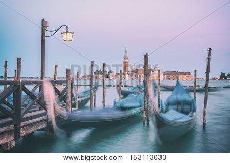 venice gondola on evening time, toned like Instagram filter