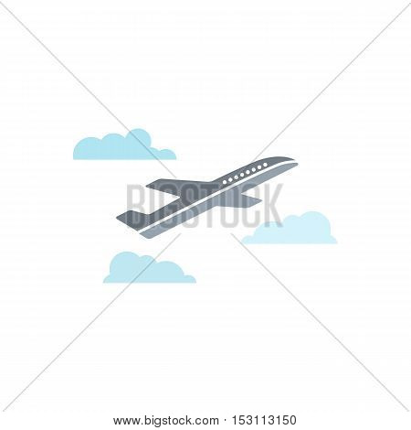 Airplane With Clouds Flat Vector Icon Isolated On White Background.