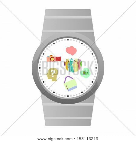 Smart Watch Icons isolated on white, business concept