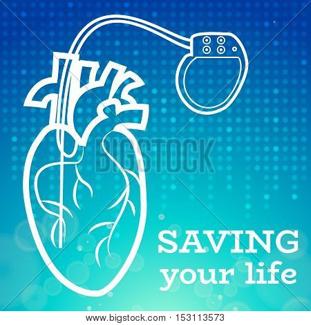 Heart with heart pacemaker medical wallpaper, vector illustration.Human Heart logo and Heart Pacemaker lifesaver on blue dotted wallpaper. Medical wallpaper for medical site, cardiology clinic