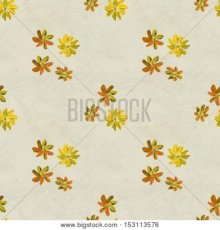 Seamless pattern with yellow flowers. Floral watercolor background.
