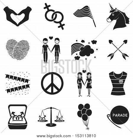 Gay set icons in black style. Big collection gay vector symbol stock