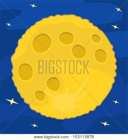 Moon on blue sky Flat design vector illustration