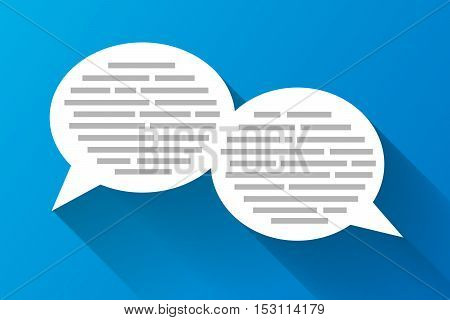 White speech bubbles with grey abstract text with long shadow on blue background flat illustration