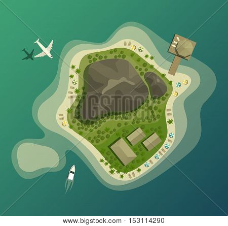 Island or isle with beach and mountain or volcano, house or bungalow, wood or forest, umbrella on sand beach, airplane and boat top or air view.