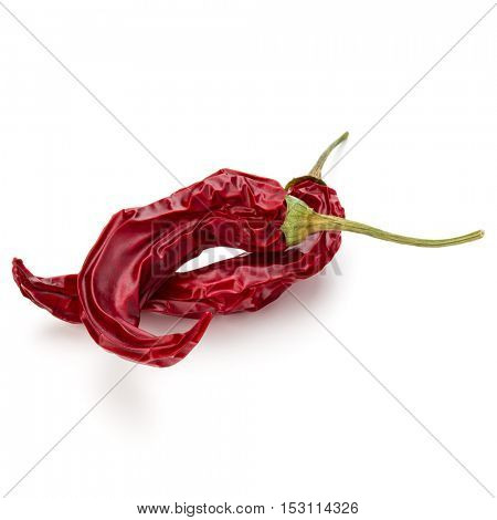 Dried red chili or chilli cayenne pepper isolated on white  background cutout