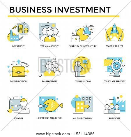 Business investment concept icons, thin line, flat design