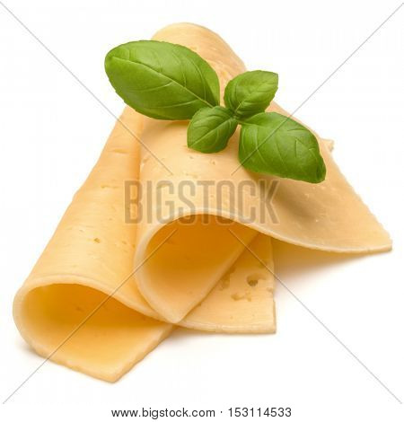 cheese slices and basil herb leaves isolated on white background cutout