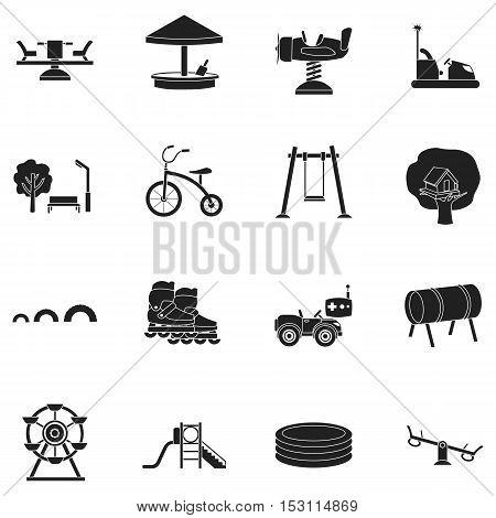 Play garden set icons in black style. Big collection play garden vector symbol stock
