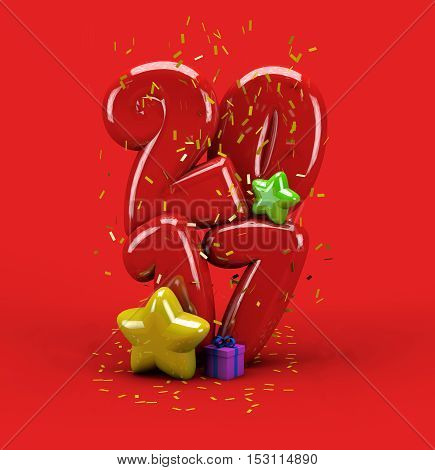 3d illustration for new year with number 2017 stars gift box and confetti on red background