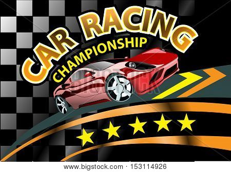 Car racing championship background design vector illustration.