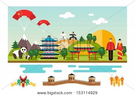 Famous Landmarks and national symbol of China. Vector Illustration
