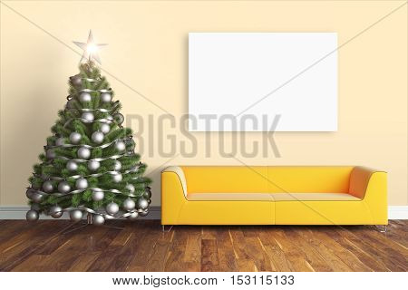 Beautiful modern interior with Christmas tree. 3D rendering