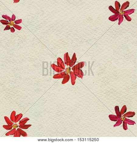 Seamless pattern with red hand painted flowers. Floral watercolor background.
