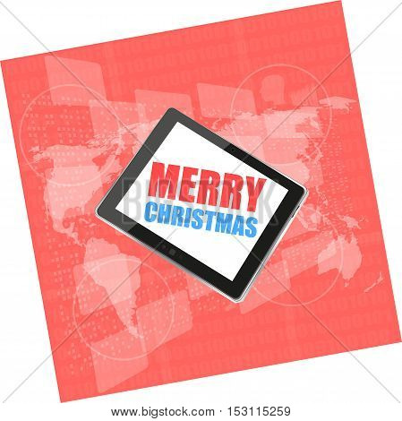 Mobile Phone Tablet Pc With Merry Christmas Design On Business Digital Screen