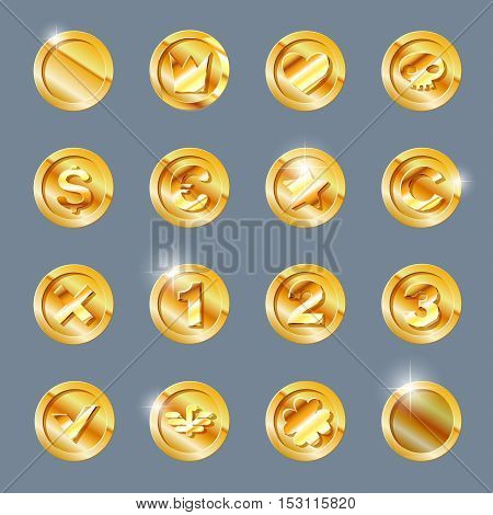 Gold coins set. Gold coin isolated on dark background. Gold coin, vector illustration.