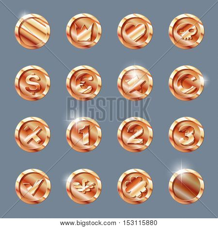 copper coins set. copper coin isolated on dark background. copper coin, vector illustration.