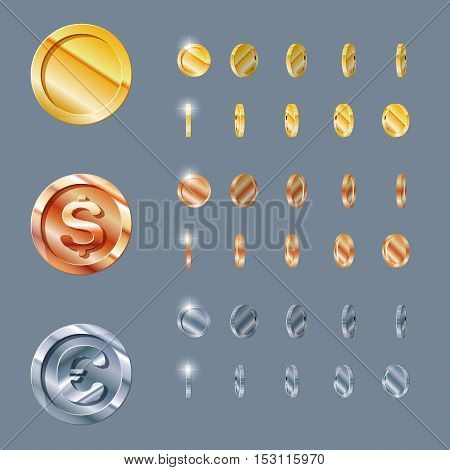 Cartoon Rotation animation coin turns around, frame by frame, gold, silver, bronze. coin set