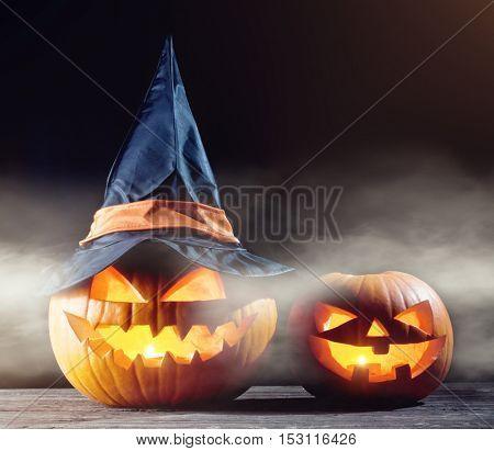 halloween pumpkin and  candle light