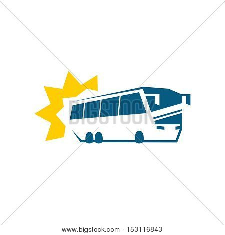 Bus symbol. Passenger bus silhouette with sun rays. Bus travel tours logo concept.