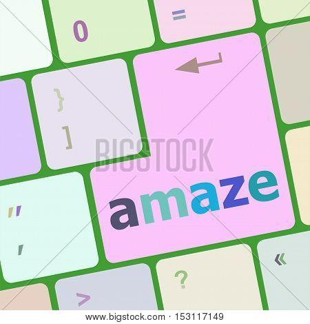 Amaze Button On Modern Computer Keyboard Key