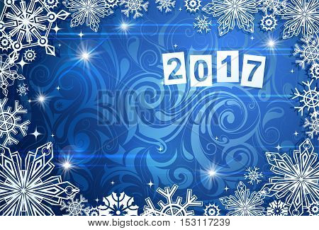 New year greeting card template with copy space area and 2017 date