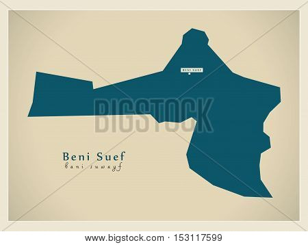 Modern Map - Beni Suef EG vector high res