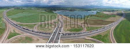 SOFIA BULGARIA - June 4 2016-Aerial view of the largest and longest parade of Ford -1 527 cars. It was recorded as Guinness Record.