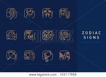 Set icons astrological signs of the zodiac