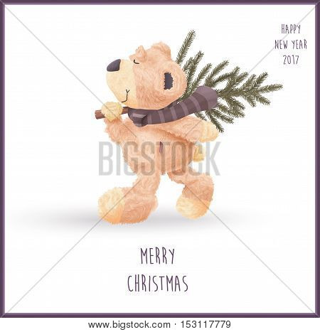 Realistic walking teddy bear carrying fir-tree vector illustration for Christmas or new year greeting card/ banner/ poster or t-shirt print.