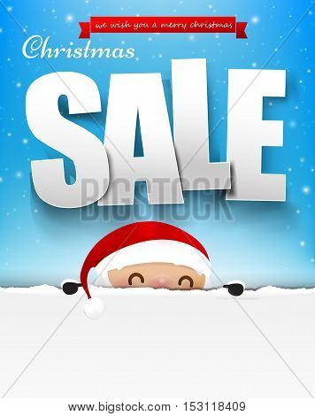 Merry christmas sale text with santa claus vector illustration eps10 003
