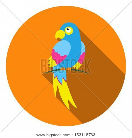 Parrot icon in flat style isolated on white background. Animals symbol vector illustration.