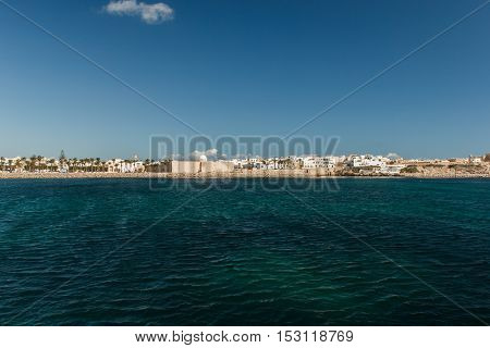 The view from the ship on the coast of Mahdia. Tunisia.